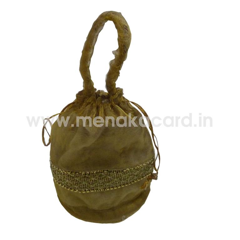 Potli bag - Gold Satin with Lace