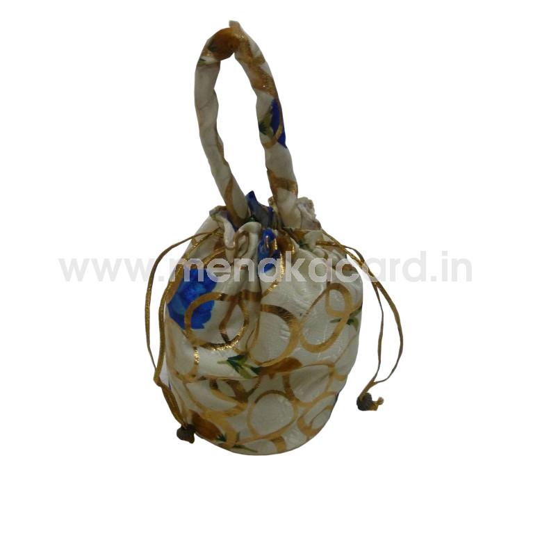 Potli bag - White with golden Circle